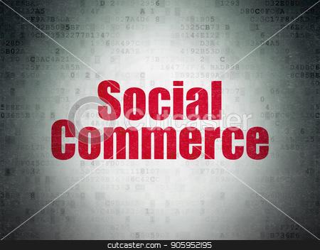 Advertising concept: Social Commerce on Digital Data Paper background stock photo, Advertising concept: Painted red word Social Commerce on Digital Data Paper background by mkabakov