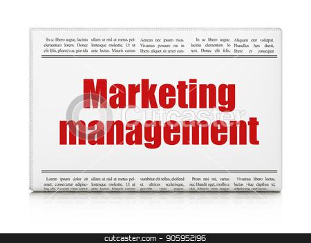 Advertising concept: newspaper headline Marketing Management stock photo, Advertising concept: newspaper headline Marketing Management on White background, 3D rendering by mkabakov