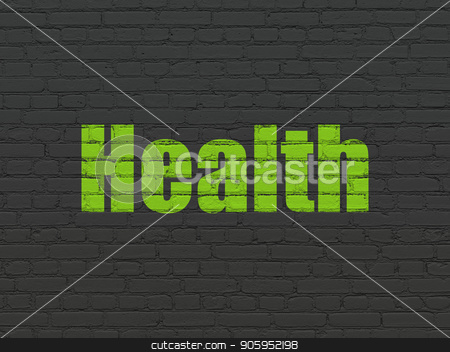 Healthcare concept: Health on wall background stock photo, Healthcare concept: Painted green text Health on Black Brick wall background by mkabakov