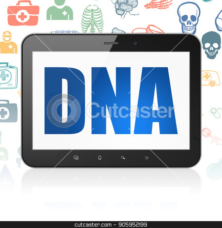 Healthcare concept: Tablet Computer with DNA on display stock photo, Healthcare concept: Tablet Computer with  blue text DNA on display,  Hand Drawn Medicine Icons background, 3D rendering by mkabakov