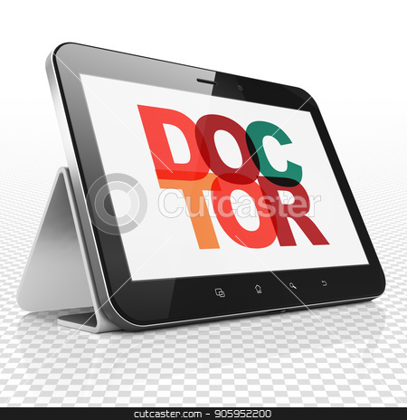 Healthcare concept: Tablet Computer with Doctor on  display stock photo, Healthcare concept: Tablet Computer with Painted multicolor text Doctor on display, 3D rendering by mkabakov