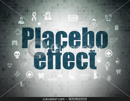 Medicine concept: Placebo Effect on Digital Data Paper background stock photo, Medicine concept: Painted blue text Placebo Effect on Digital Data Paper background with  Hand Drawn Medicine Icons by mkabakov