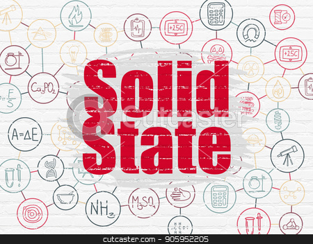 Science concept: Solid State on wall background stock photo, Science concept: Painted red text Solid State on White Brick wall background with Scheme Of Hand Drawn Science Icons by mkabakov