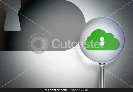 Cloud computing concept:  Cloud With Keyhole with optical glass on digital background stock photo, Cloud computing concept: magnifying optical glass with Cloud With Keyhole icon on digital background, empty copyspace for card, text, advertising, 3D rendering by mkabakov