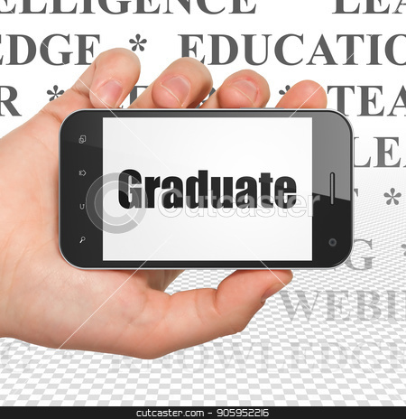 Education concept: Hand Holding Smartphone with Graduate on display stock photo, Education concept: Hand Holding Smartphone with  black text Graduate on display,  Tag Cloud background, 3D rendering by mkabakov