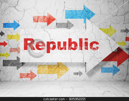Politics concept: arrow with Republic on grunge wall background stock photo, Politics concept:  arrow with Republic on grunge textured concrete wall background, 3D rendering by mkabakov