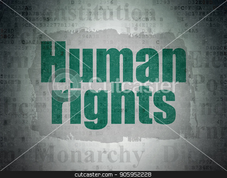Political concept: Human Rights on Digital Data Paper background stock photo, Political concept: Painted green text Human Rights on Digital Data Paper background with   Tag Cloud by mkabakov
