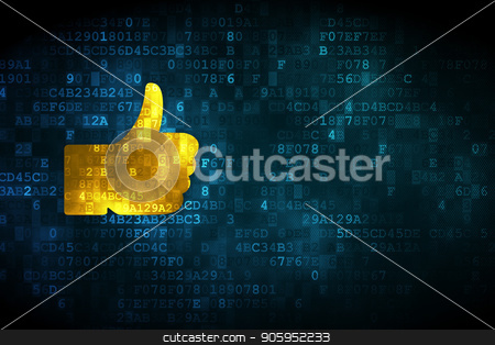 Social network concept: Thumb Up on digital background stock photo, Social network concept: pixelated Thumb Up icon on digital background, empty copyspace for card, text, advertising by mkabakov