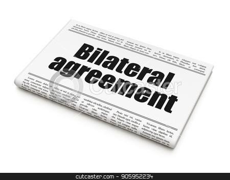 Insurance concept: newspaper headline Bilateral Agreement stock photo, Insurance concept: newspaper headline Bilateral Agreement on White background, 3D rendering by mkabakov