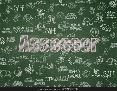 Insurance concept: Assessor on School board background stock photo, Insurance concept: Chalk Pink text Assessor on School board background with  Hand Drawn Insurance Icons, School Board by mkabakov