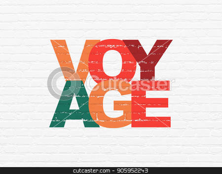 Vacation concept: Voyage on wall background stock photo, Vacation concept: Painted multicolor text Voyage on White Brick wall background by mkabakov