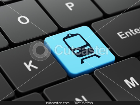 Vacation concept: Train on computer keyboard background stock photo, Vacation concept: computer keyboard with Train icon on enter button background, 3D rendering by mkabakov