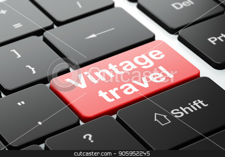 Vacation concept: Vintage Travel on computer keyboard background stock photo, Vacation concept: computer keyboard with word Vintage Travel, selected focus on enter button background, 3D rendering by mkabakov