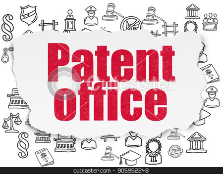 Law concept: Patent Office on Torn Paper background stock photo, Law concept: Painted red text Patent Office on Torn Paper background with  Hand Drawn Law Icons by mkabakov