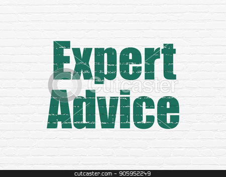 Law concept: Expert Advice on wall background stock photo, Law concept: Painted green text Expert Advice on White Brick wall background by mkabakov