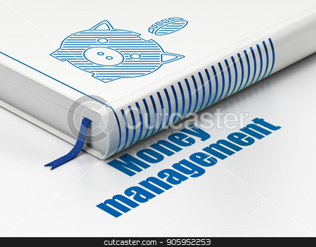 Currency concept: book Money Box With Coin, Money Management on white background stock photo, Currency concept: closed book with Blue Money Box With Coin icon and text Money Management on floor, white background, 3D rendering by mkabakov