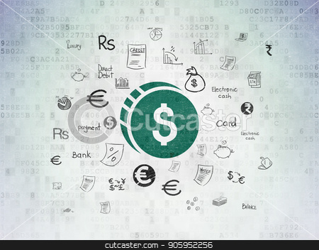 Currency concept: Dollar Coin on Digital Data Paper background stock photo, Currency concept: Painted green Dollar Coin icon on Digital Data Paper background with  Hand Drawn Finance Icons by mkabakov