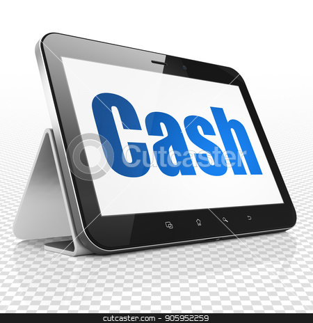 Currency concept: Tablet Computer with Cash on display stock photo, Currency concept: Tablet Computer with blue text Cash on display, 3D rendering by mkabakov