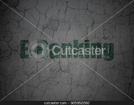 Money concept: E-Banking on grunge wall background stock photo, Money concept: Green E-Banking on grunge textured concrete wall background by mkabakov