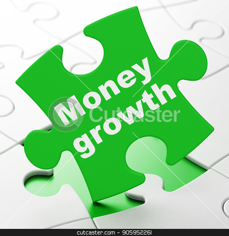 Money concept: Money Growth on puzzle background stock photo, Money concept: Money Growth on Green puzzle pieces background, 3D rendering by mkabakov