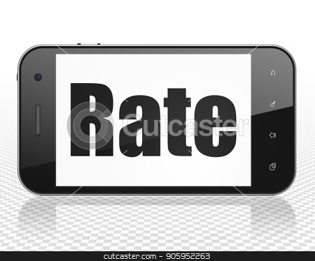 Currency concept: Smartphone with Rate on display stock photo, Currency concept: Smartphone with black text Rate on display, 3D rendering by mkabakov
