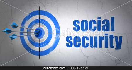 Protection concept: target and Social Security on wall background stock photo, Success protection concept: arrows hitting the center of target, Blue Social Security on wall background, 3D rendering by mkabakov