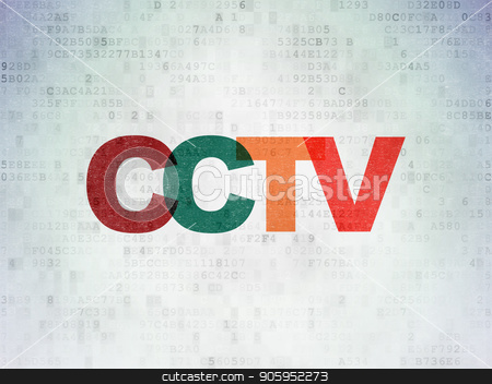 Protection concept: CCTV on Digital Data Paper background stock photo, Protection concept: Painted multicolor text CCTV on Digital Data Paper background by mkabakov