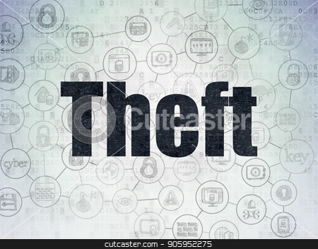 Security concept: Theft on Digital Data Paper background stock photo, Security concept: Painted black text Theft on Digital Data Paper background with  Scheme Of Hand Drawn Security Icons by mkabakov