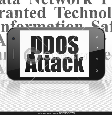 Security concept: Smartphone with DDOS Attack on display stock photo, Security concept: Smartphone with  black text DDOS Attack on display,  Tag Cloud background, 3D rendering by mkabakov