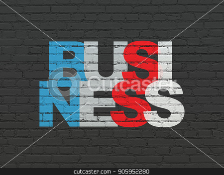 Business concept: Business on wall background stock photo, Business concept: Painted multicolor text Business on Black Brick wall background by mkabakov