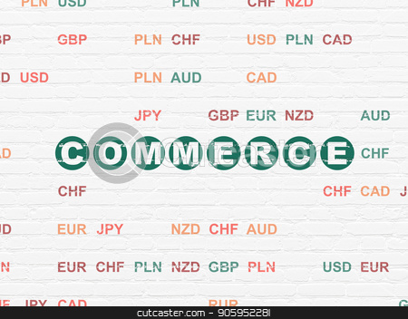 Finance concept: Commerce on wall background stock photo, Finance concept: Painted green text Commerce on White Brick wall background with Currency by mkabakov