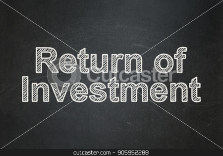 Business concept: Return of Investment on chalkboard background stock photo, Business concept: text Return of Investment on Black chalkboard background by mkabakov