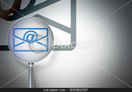 Business concept:  Email with optical glass on digital background stock photo, Business concept: magnifying optical glass with Email icon on digital background, empty copyspace for card, text, advertising, 3D rendering by mkabakov