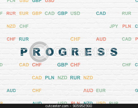 Business concept: Progress on wall background stock photo, Business concept: Painted blue text Progress on White Brick wall background with Currency by mkabakov