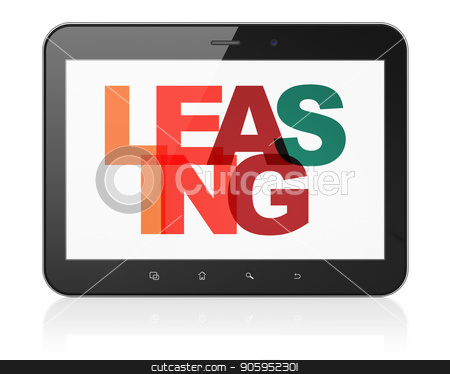 Finance concept: Tablet Computer with Leasing on  display stock photo, Finance concept: Tablet Computer with Painted multicolor text Leasing on display, 3D rendering by mkabakov