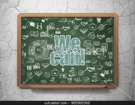 Finance concept: We Can! on School board background stock photo, Finance concept: Chalk Blue text We Can! on School board background with  Hand Drawn Business Icons, 3D Rendering by mkabakov