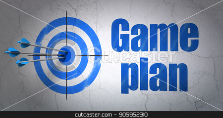 Business concept: target and Game Plan on wall background stock photo, Success business concept: arrows hitting the center of target, Blue Game Plan on wall background, 3D rendering by mkabakov