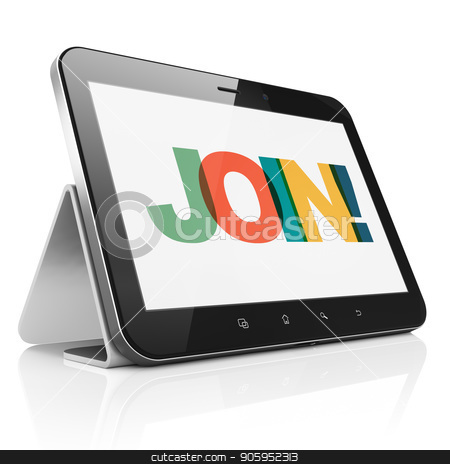 Business concept: Tablet Computer with Join! on  display stock photo, Business concept: Tablet Computer with Painted multicolor text Join! on display, 3D rendering by mkabakov