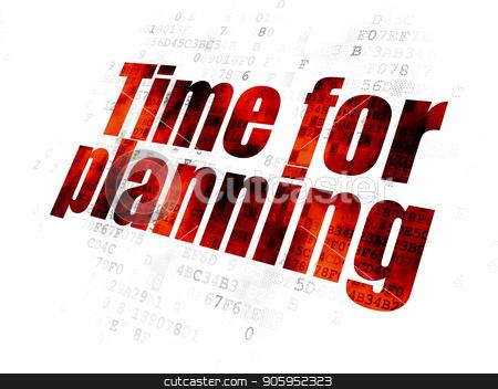 Timeline concept: Time for Planning on Digital background stock photo, Timeline concept: Pixelated red text Time for Planning on Digital background by mkabakov