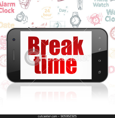 Time concept: Smartphone with Break Time on display stock photo, Time concept: Smartphone with  red text Break Time on display,  Hand Drawing Time Icons background, 3D rendering by mkabakov