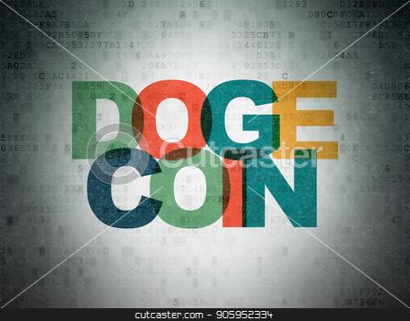 Blockchain concept: Dogecoin on Digital Data Paper background stock photo, Blockchain concept: Painted multicolor text Dogecoin on Digital Data Paper background by mkabakov