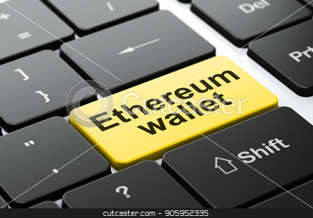 Cryptocurrency concept: Ethereum Wallet on computer keyboard background stock photo, Cryptocurrency concept: computer keyboard with word Ethereum Wallet, selected focus on enter button background, 3D rendering by mkabakov