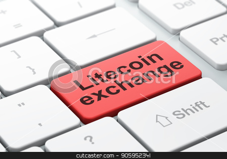 Cryptocurrency concept: Litecoin Exchange on computer keyboard background stock photo, Cryptocurrency concept: computer keyboard with word Litecoin Exchange, selected focus on enter button background, 3D rendering by mkabakov