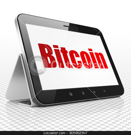 Cryptocurrency concept: Tablet Computer with Bitcoin on display stock photo, Cryptocurrency concept: Tablet Computer with red text Bitcoin on display, 3D rendering by mkabakov