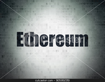 Blockchain concept: Ethereum on Digital Data Paper background stock photo, Blockchain concept: Painted black word Ethereum on Digital Data Paper background by mkabakov