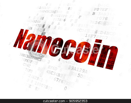 Cryptocurrency concept: Namecoin on Digital background stock photo, Cryptocurrency concept: Pixelated red text Namecoin on Digital background by mkabakov