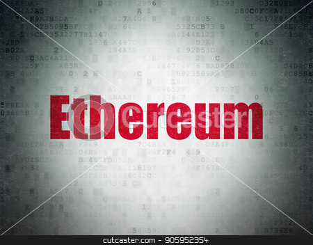 Cryptocurrency concept: Ethereum on Digital Data Paper background stock photo, Cryptocurrency concept: Painted red word Ethereum on Digital Data Paper background by mkabakov