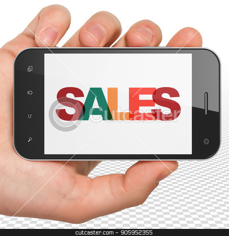 Marketing concept: Hand Holding Smartphone with Sales on  display stock photo, Marketing concept: Hand Holding Smartphone with Painted multicolor text Sales on display, 3D rendering by mkabakov