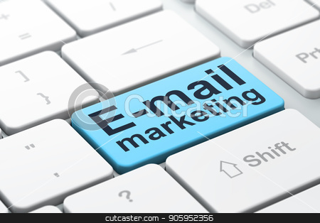 Marketing concept: E-mail Marketing on computer keyboard background stock photo, Marketing concept: computer keyboard with word E-mail Marketing, selected focus on enter button background, 3D rendering by mkabakov