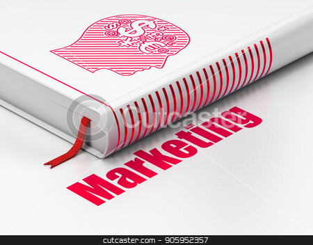 Marketing concept: book Head With Finance Symbol, Marketing on white background stock photo, Marketing concept: closed book with Red Head With Finance Symbol icon and text Marketing on floor, white background, 3D rendering by mkabakov